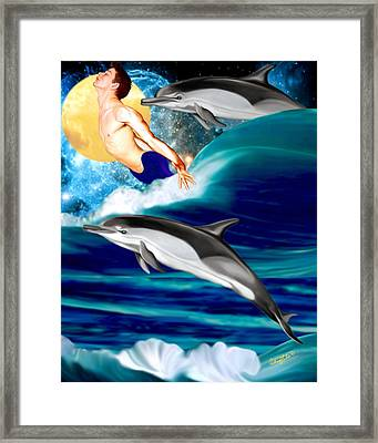 Swimming With Dolphins Framed Print