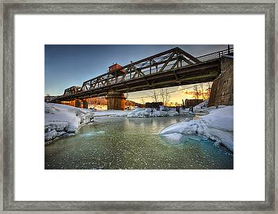 Swing Bridge Frozen River Framed Print