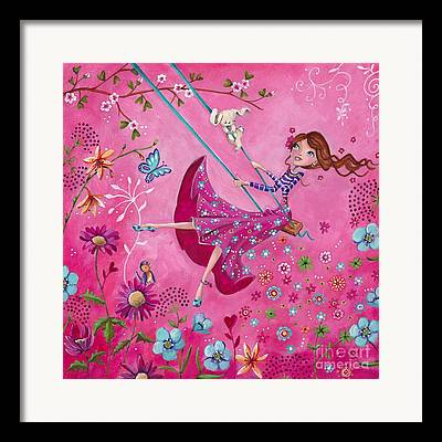 Fairy Hearts Pink Flower Paintings Framed Prints