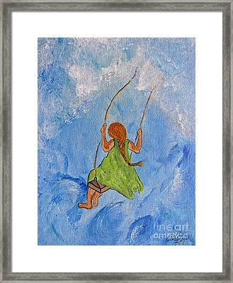 Swing High Into The Clouds - Painting Framed Print