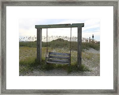 Swing On The Beach Framed Print