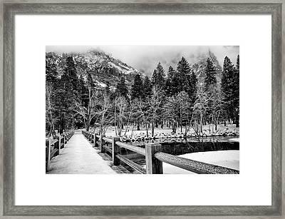 Swinging Bridge In Winter Framed Print by Cat Connor