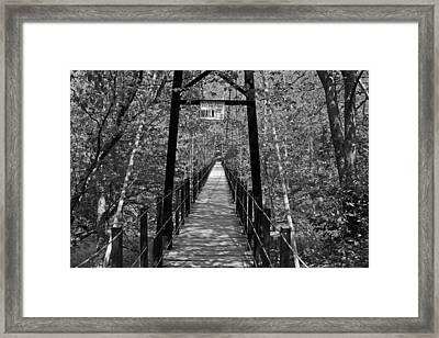 Swinging Bridge Patapsco State Park Bw Framed Print
