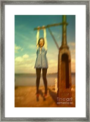 Framed Print featuring the photograph Swinging From Lampost  by Craig B
