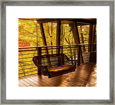 Swinging In Autumn Trees Original Photograph Framed Print