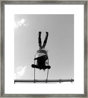 Swings Bw Framed Print
