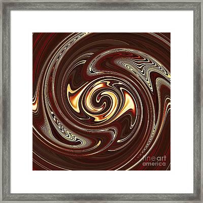 Swirl Design On Brown Framed Print by Sarah Loft