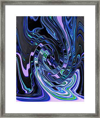 Swirl Spiral Of Blue And Black Abstract Digital Design Framed Print by Adri Turner