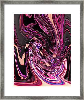 Swirl Spiral Of Pink Purple And Black Abstract Digital Design Framed Print by Adri Turner