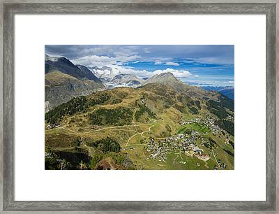 Swiss Alps Great View Towards Riederalp Aletsch Forest And Aletsch Glacier Framed Print by Matthias Hauser