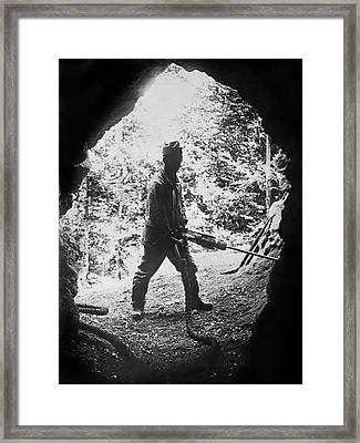 Swiss Army Soldier Working Framed Print
