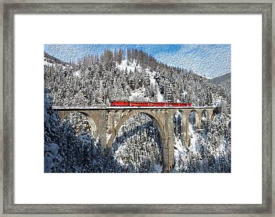 Swiss Bridge - Snow Painting Framed Print by Mike Rampino