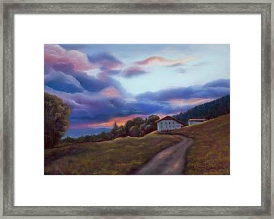 Swiss Clouds - La Ferme Des Endroits - La Chaux-de-fonds Framed Print by Marie-Claire Dole