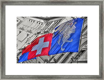 Swiss Flags  Framed Print by Mats Silvan