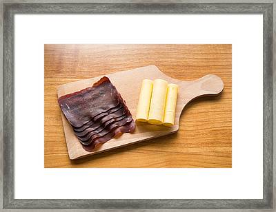 Swiss Food - Dried Meat And Cheese Framed Print by Matthias Hauser