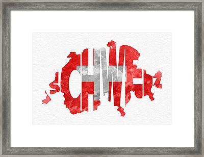 Switzerland Typographic Map Flag Framed Print by Ayse Deniz