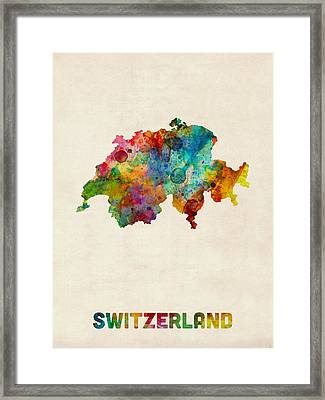 Switzerland Watercolor Map Framed Print by Michael Tompsett