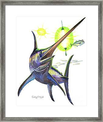Swordfishing Framed Print by Carey Chen