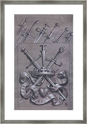Swords Crown And Heart Design Framed Print by