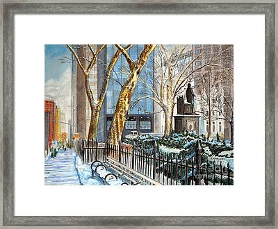 Sycamores Madison Square Park Framed Print by John W Walker
