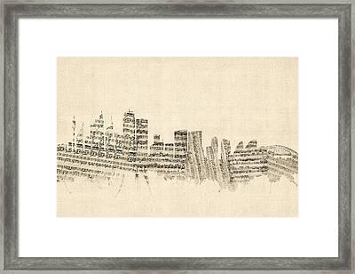 Sydney Australia Skyline Sheet Music Cityscape Framed Print