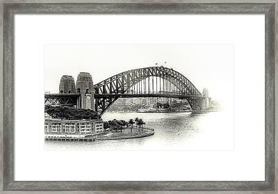 Sydney Bridge In Black And White Framed Print