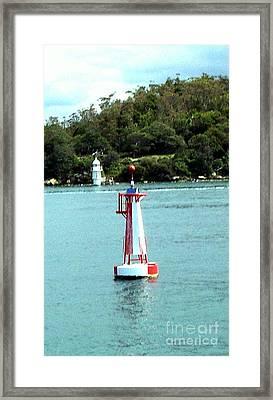 Sydney Buoy And Lighthouse Framed Print by John Potts