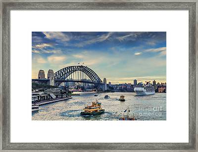 Sydney Harbour At Twilight Framed Print by Colin and Linda McKie