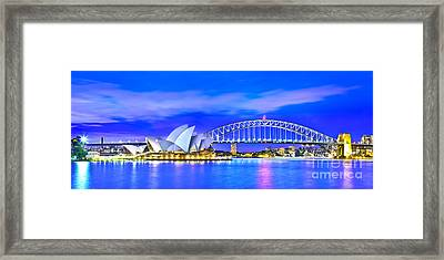 Sydney Harbour Blues Panorama Framed Print by Az Jackson