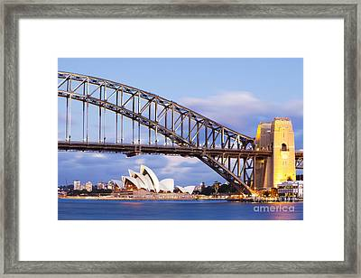 Sydney Harbour Bridge And Opera House Framed Print by Colin and Linda McKie