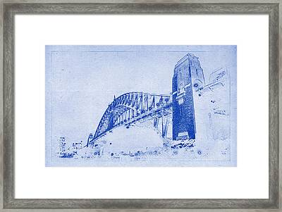 Sydney Harbour Bridge Blueprint Framed Print by Kaleidoscopik Photography