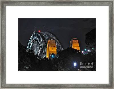 Sydney Harbour Bridge By Night - Different Perspective Framed Print