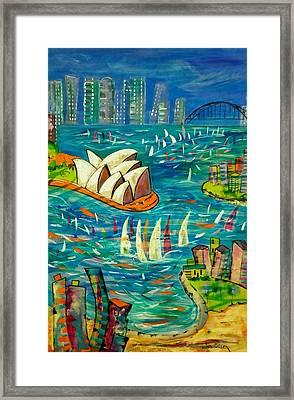 Framed Print featuring the painting Sydney Harbour by Lyn Olsen
