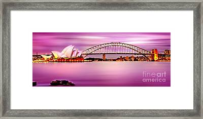 Sydney Harbour Pink Sunset Framed Print by Az Jackson