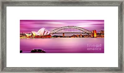 Sydney Harbour Pink Sunset Framed Print