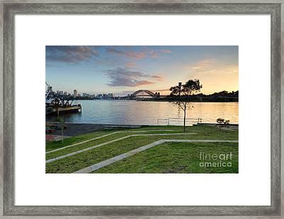 Sydney Harbour Sunrise From Balmain Framed Print