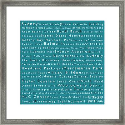 Sydney In Words Teal Framed Print