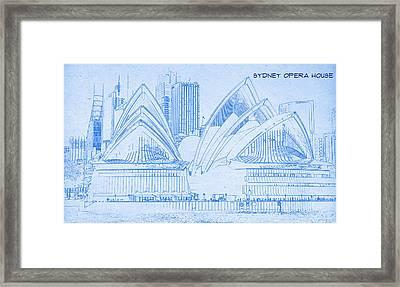 Sydney Opera House - Blueprint Drawing Framed Print