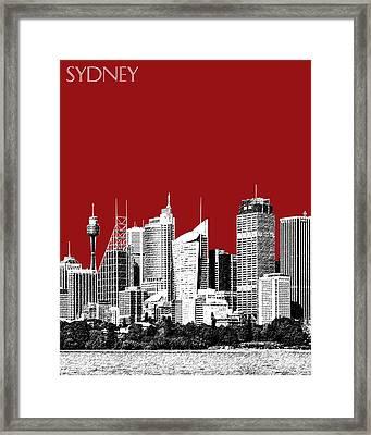 Sydney Skyline 1 - Dark Red Framed Print by DB Artist