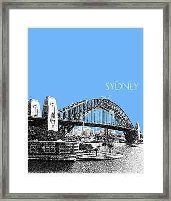Sydney Skyline 2 Harbor Bridge - Light Blue Framed Print