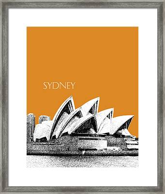 Sydney Skyline 3  Opera House - Dark Orange Framed Print by DB Artist