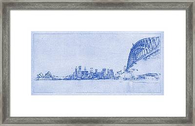 Sydney Skyline Blueprint Framed Print by Kaleidoscopik Photography