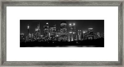 Sydney Skyline In Bw Framed Print by Cliff C Morris Jr