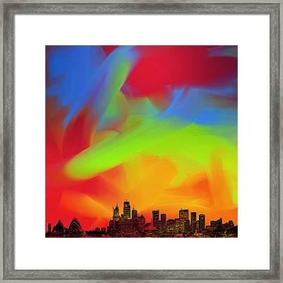 Sydney Skyline In Oils Framed Print