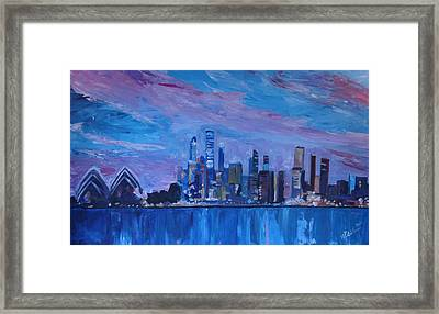 Sydney Skyline With Opera House At Dusk Framed Print by M Bleichner