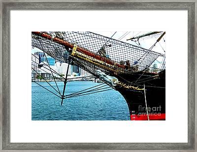 Sydney Through Bow Sprit Framed Print by John Potts
