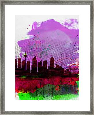 Sydney Watercolor Skyline 2 Framed Print