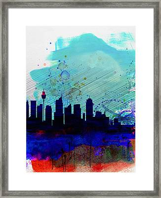 Sydney Watercolor Skyline Framed Print by Naxart Studio