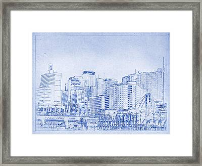 Sydney's Cockle Bay Blueprint Framed Print by Kaleidoscopik Photography