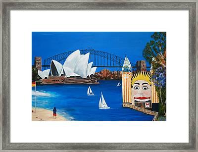 Sydneyscape - Featuring Luna Park  Framed Print by Lyndsey Hatchwell